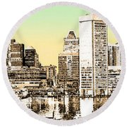Harbor Lights From Federal Hill - Drawing Fx Round Beach Towel