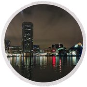 Harbor Lights In Baltimore Round Beach Towel