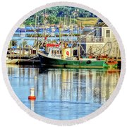 Harbor Morning Round Beach Towel