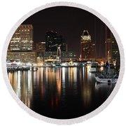 Harbor Nights - Baltimore Skyline Round Beach Towel