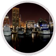 Harbor Nights - Trade Center In Focus Round Beach Towel