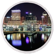 Harbor Nights In Baltimore Round Beach Towel