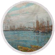 Harbor Of A Thousand Masts Round Beach Towel