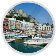 Harbor Of Isle Of Capri Round Beach Towel by Jon Berghoff