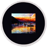 Harbor Of Messina - Sicily Round Beach Towel