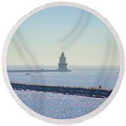 Harbor Of Refuge Lighthouse  Lewes Delaware Round Beach Towel