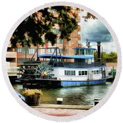 Harbor Park Ferry 5 Round Beach Towel by Lanjee Chee