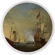 Harbor Scene An English Ship With Sails Loosened Firing A Gun Round Beach Towel