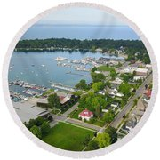 Harbor Springs From Above Round Beach Towel