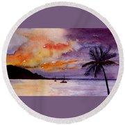 Harbor Sunset Kauai Hawaii Round Beach Towel
