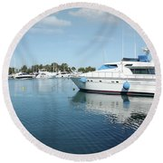 Harbor With Yacht And Boats Round Beach Towel