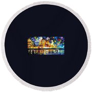 Harbor's Flames Round Beach Towel
