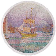 Harbour At Marseilles Round Beach Towel