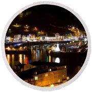 Harbour At Night Round Beach Towel