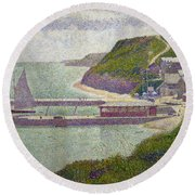 Harbour At Port En Bessin At High Tide Round Beach Towel by Georges Pierre Seurat