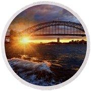 Harbour Bridge Sunset By Kaye Menner Round Beach Towel