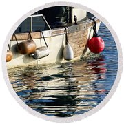 Harbour Reflections 3 - June 2015 Round Beach Towel