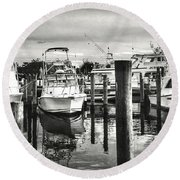 Harbour Scene Round Beach Towel