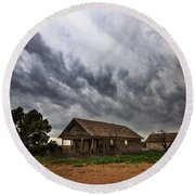 Hard Days - Abandoned Home On West Texas Plains Round Beach Towel