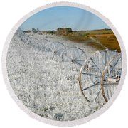 Hard Land Farming Round Beach Towel