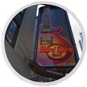 Hard Rock Cafe N Y C Round Beach Towel