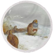 Hard Times Partridges By Thorburn Round Beach Towel