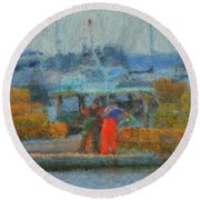 Hard Work At Lobster Dock Boothbay Harbor Maine Round Beach Towel