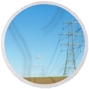 Hardly A Cloud In The Sky As Pylons Distribute Energy Through The Region. Round Beach Towel