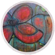 Hare Hare Poppies Round Beach Towel