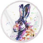 Hare In Grass Round Beach Towel