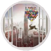 Hare In Nyc Round Beach Towel