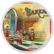 Harem Vintage Fruit Packing Crate Label C. 1920 Round Beach Towel