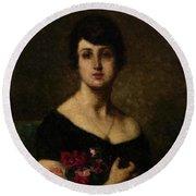 Harlamoff, Alexei 1840-1925 Female Portrait Round Beach Towel
