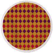 Harlequin Gold Purple Coral Round Beach Towel