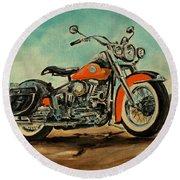 Harley Davidson 1956 Flh Round Beach Towel