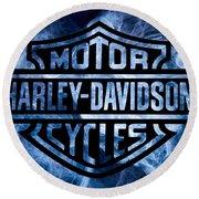 Harley Davidson Logo Blue Round Beach Towel