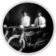 William Harley And Arthur Davidson, 1914 -- The Founders Of Harley Davidson Motorcycles Round Beach Towel