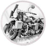 Harley Davidson Military Motorcycle Bw Round Beach Towel