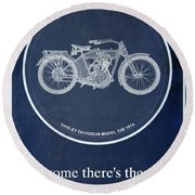 Harley Davidson Model 10b 1914, For Some There's Therapy, For The Rest Of Us There's Motorcycles Round Beach Towel