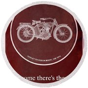 Harley Davidson Model 10b 1914 For Some There's Therapy, For The Rest Of Us There's Motorcycles, Red Round Beach Towel