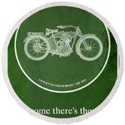 Harley Davidson Model 10b,1914 For Some There's Therapy, For The Rest Of Us There's Motorcycles Round Beach Towel