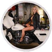 Harley Davidson Motorcycle Babe Round Beach Towel