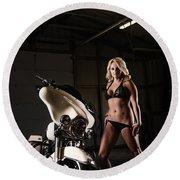 Harley Davidson Motorcycle Bikini  Round Beach Towel