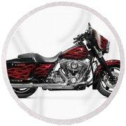 Harley-davidson Street Glide Motorcycle Round Beach Towel