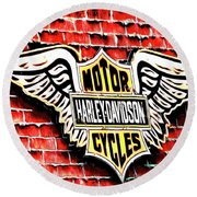 Harley Davidson Wings Round Beach Towel