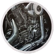 Harley Engine Round Beach Towel