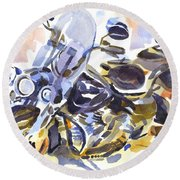 Motorcycle In Watercolor Round Beach Towel