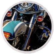 Harley Lights 1483 H_2 Round Beach Towel