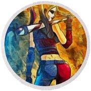 Harley Quinn Spicy  - Van Gogh Style -  - Da Round Beach Towel