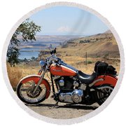 Harley With Columbia River And Mt Hood Round Beach Towel